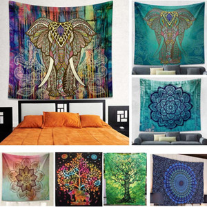 Wholesale Folk Tapestry Elephant background Tapestry Mandala Yoga Home Cloth Beach Towels Living Room Decoration Styles cm HH7