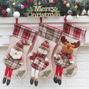 Plaid Christmas Stocking 3 Designs Long Legs Doll Christmas Gift Bags Santa Claus Hanging Sotckings Christmas Decoration 1 Piece ePacket