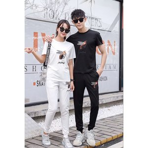 mens tracksuits casual fashion suit bee embroidery sports bodybuilding couple two-piece clothing tracksuit on Sale