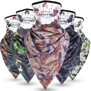 Wholesale Tactical camouflage ice silk quick drying triangle mask breathable anti terrorism skull mask military fan face mask LJJZ22