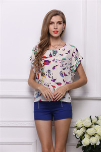 Wholesale DHL Women s Summer Casual loose and comfortable Bird Heart Geometric Print Short Sleeve Chiffon Top T Shirt Blouses