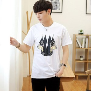 Summer Fashion Mens T-shirts Men Short Sleeve Casual Tshirt Tee Tops Mens A Two-headed Dog Tshirt Mens Clothing