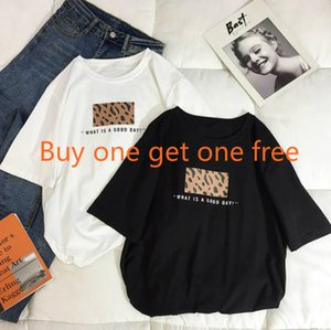 Wholesale Buy one get one free summer new Korean women s summer dress tide ins leopard short sleeved t shirt female loose student white shirt