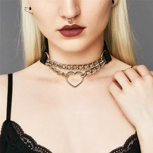 Hollow heart choker necklace leather chains women necklaces Collar neck chain fashion jewelry will and sandy gift