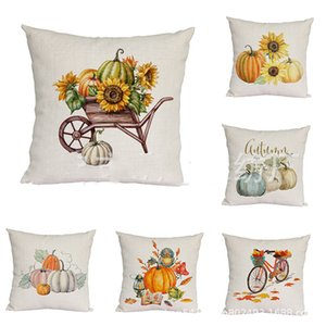 Wholesale Thanksgiving Pumpkin and Sunflower Cushion Cover Thanksgiving Autumn Harvest Pumpkin Theme Pillow Case Home Office Sofa Car Decor cm