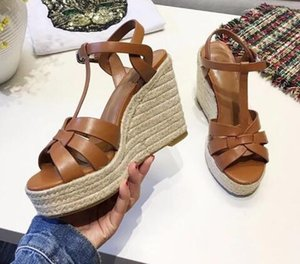 Wholesale Newest Style Women Brown White T strap Peep Toe Wedge Sandals Summer Hollow Out Ankle Buckle Strap Platform Shoes