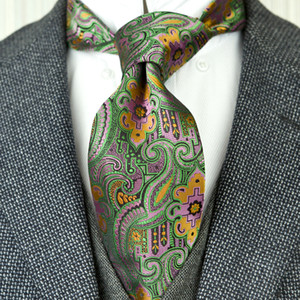 Wholesale F26 Multicolor Green Orange Pink Pattern Floral Mens Ties Neckties Silk Jacquard Woven Attractive Brand New Handmade