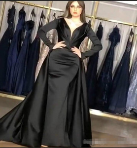 2020 Plus Size African Dubai Arabic Evening Gowns Mermaid Black Overskirt Prom Dresses Long Mermaid Dress Vestido Sereia Long Sleeve on Sale