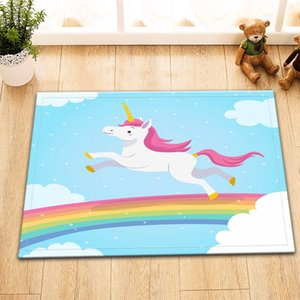 Wholesale LB Rainbow Unicorns Light Blue Bath Mat Anti Slip Tape Bathroom Carpet Rug Doorway Floor Absorbent For Bathtub Home Decor