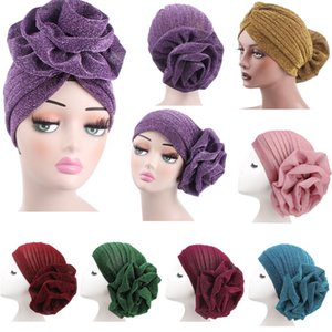 Wholesale BEST PRICE big flower Woman turban Muslim hat Bright silk adult caps over colors for choices free ship