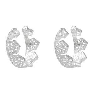 925 Silver Hollow CrownClamp Simple and Small French Hole-free Ear Ring Female Ear Bone Clamp Ear Nail