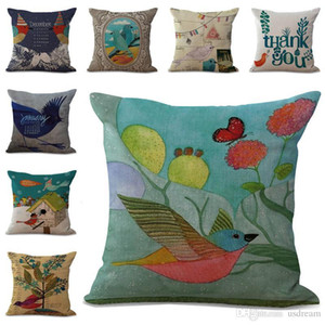 Wholesale Retro Birds Calendar Pillow Case Cushion Cover Linen Cotton Throw Pillowcases Sofa Car Decorative Pillowcover PW645