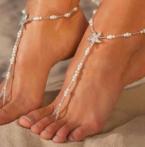 Wholesale 5PCS White Pearls Bridal Anklets Barefoot Sandals Linked with Toes Beads Wedding Jewelry INS Popular Women Brecelate Bride Accessories