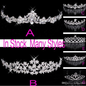 Wholesale In Stock Rhinestone Crystal Wedding Party Prom Homecoming Crowns Band Princess Bridal Tiaras Hair Accessories Fashion