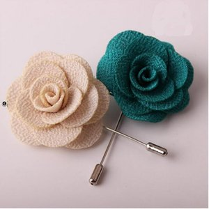 20Pcs Lot Best Man Groom Boutonniere Cloth Rose Flower Men Buttonhole Wedding Party Prom Man Suit Corsage Pin Brooch