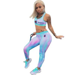 Gradient Blue Women Champions Letter Tracksuit Sports Bra Vest + Pants Leggings 2 Piece Set Sleeveless Crop Top Outfits Gym Yoga Suit C3254