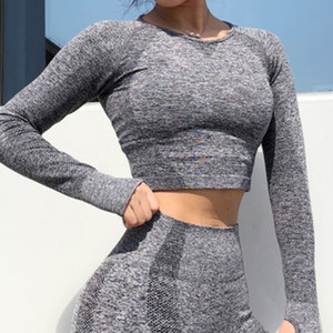 Wholesale Yoga Set Women Exercise Clothes Long Sleeve Gym Top Yoga Shirts Energy Seamless Leggings Running Fitness Workout Sweatsshirt Set