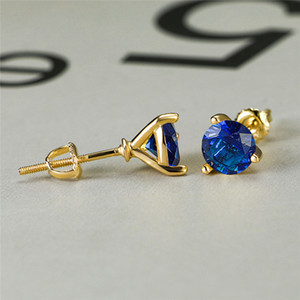 Wholesale RongXing Glamour Royal Blue Crystal Three Prong Zircon Stud Earrings for Women Retro Gold Silver Rose Gold Birthstone Earrings