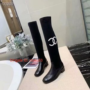 Wholesale really Hot Sale Wedges Knee high Women Boots Pointed Toe Mixed Color Leather Chunky Heel Long Boots European Style Fashion Show