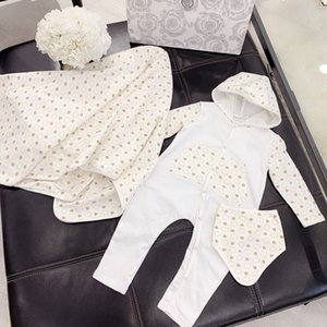 Wholesale new Spring Autumn Cotton Newborn Baby Rompers Infant Jumpsuit Hat Scarf pc Set Boy Girls Print Long Sleeves Sleepsuits