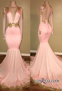 Gold Appliques Prom Dresses Long Pink Sexy Deep V Neck Long Sleeve Evening Gowns Open Back Formal Party Dress on Sale