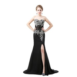 Sexy Split Mermaid Evening Dresses Chiffon Applique Crystals Arabia Vestidos De Festa Party Dress Prom Formal Pageant Celebrity Gowns on Sale