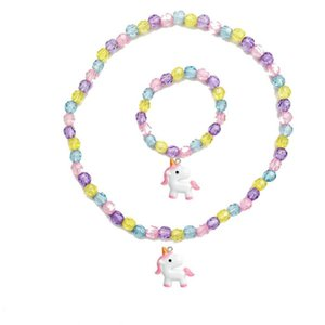 Wholesale Cartoon Unicorn Necklace Bracelet Set Thick Beads Baby Cute Unicorn Pendant Necklace Girl Chain Jewelry Gift