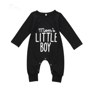 Wholesale Brand New Fashion Newborn Toddler Infant Baby Boys Romper Long Sleeve Jumpsuit Playsuit Little Boy Outfits Black Clothes
