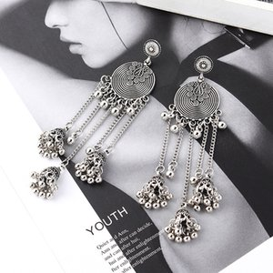 Wholesale Bollywood Oxidized Jewellery Ethnic Silver Afghan Long Tassel Beaded Drop Flower Jhumka Nepal Gypsy Wedding Jewelry