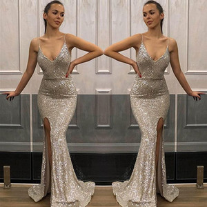 Wholesale Mermaid V-Neck Split Sequined Prom Dresses Long 2019 Cheap Sequin Applique Formal Evening Gowns Cocktail Party Ball Sweet 16 Dress
