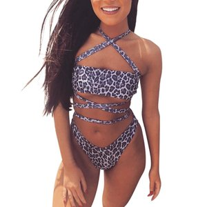 Wholesale Sexy Women Leopard Print Cross Bikini Set Swimwear Bathing Swimsuit Beachwear Womens Leopard Print Piece Swimsuit Bandage