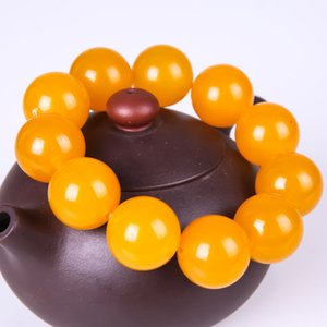 Fine Jewelry Chinese Beautiful Natural Yellow Jade Hand-carved Bead Elastic Bracelet Bracelet Free Shipping