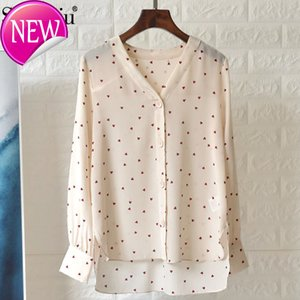 Wholesale Silk Designer Heart shaped Printing Woman s Blouse Long Women s Sleeve Shirt With Edge V Fashion Office Office
