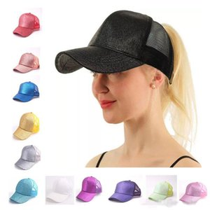 Wholesale 13 Colors Trucker Pony Glitter Ponytail Ball Cap Plain Baseball Visor Cap Glitter Ponytail Hats Snapbacks