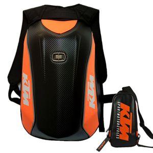 For YAMAHA KTM Carbon Fiber Waterproof Backpack Motorcycle Helmet Luggage Motocross Riding Racing Motor Travel Storage Bag Box Moto Backpack