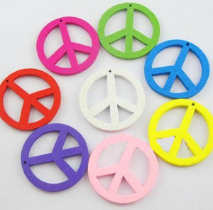Wholesale Mixed Vintage Wood Peace Sign Charms Pendant Creative Symbol For Jewelry Making Bracelets Necklace Accessories Gift DIY Hot Sale mm