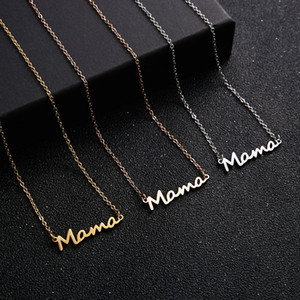 Necklace Mama Letters Stainless Steel Mom Baby Lockbone Chain Pendant Necklace Female Necklace Jewelry Mother's Day Gift