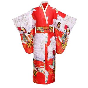 Wholesale Traditional Japanese Women Kimono Printed Yukata Bath Robe Vintage Evening Party Prom Dress Gown With Obi Lady Gift One Size
