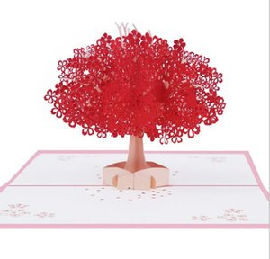 Wholesale Universal festival 3D paper carving red romantic cherry blossom handmade greeting card cherry tree Valentine's Day gift blessing card