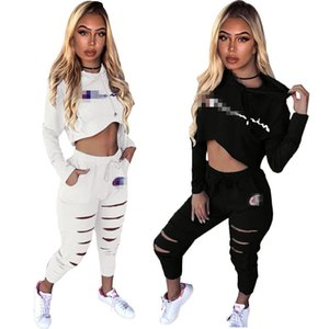 Wholesale Champions Hooded Two Piece Outfits Women Sexy Brand Hoodie Long Sleeve Short Crop Top Pocket Hole Long Pant Set White Black