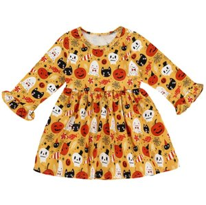 Wholesale Halloween Pumpkin goast Printed years Children s Dress long sleeve baby girl holidays makeup clothing newborn babies skirts