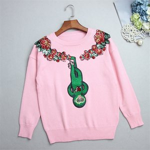 Wholesale SRUILEE Sweet Monkey Embroidery Sweater Autumn Winter Cute Animal Jumper Women Sweater sequin Beading Pullovers Knit Tops Runway