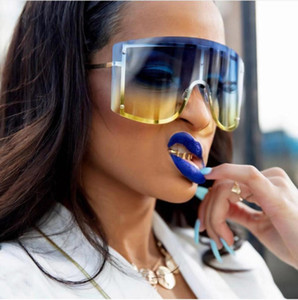 Wholesale Designer Oversized sunglasses women Blue Yellow Gradient brand Red Rimless Metal Female Sun Glasses Shades