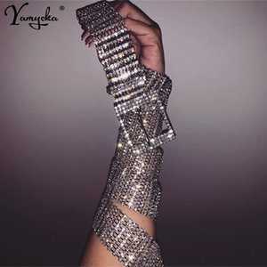 Sexy luxury ten row bright full rhinestone inlaid women's belt female bride wide Silver bling crystal diamond waist chain belt