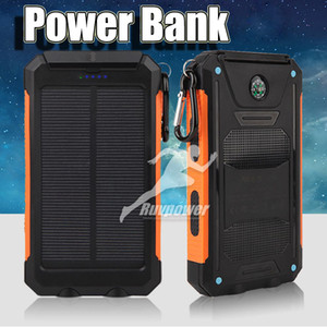 Wholesale Universal mAh Portable Solar power bank battery charger with LED flashlight and compass for Mobile Phones outdoor camping