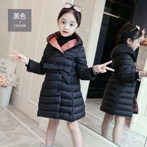 Wholesale Girls Coat Solid Hoodies Girls Coat Long Thick Children Overcoat With Bow Winter Warm Korean Style Clothing For Young