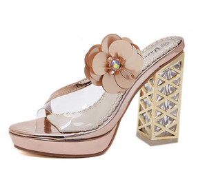 Wholesale 12cm Champagne gold block heel prom party wear fashion luxury designer women shoes size to