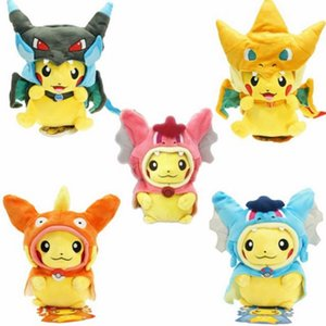 Wholesale 25cm Cosplay Plush Dolls Toys Children Pikachu Charizard Slowpoke Magikarp Plush Dolls Toy Cloak Pikachu kids toys