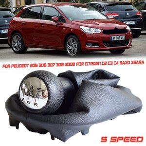 Hot 5 Speed MT Gear Shift Knob With Gaiter Boot Cover For Peugeot 206 306 307 3008 For Citroen C2 C4 Picasso