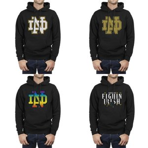 Wholesale Notre Dame Fighting Irish football logo black Mens Hoodie Fleece Sweatshirt Pocket Pullover Gay pride rainbow camouflage